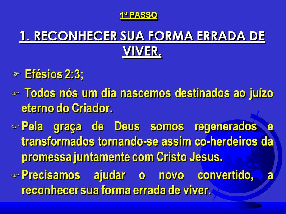 1º. PASSO 1. RECONHECER SUA FORMA ERRADA DE VIVER.