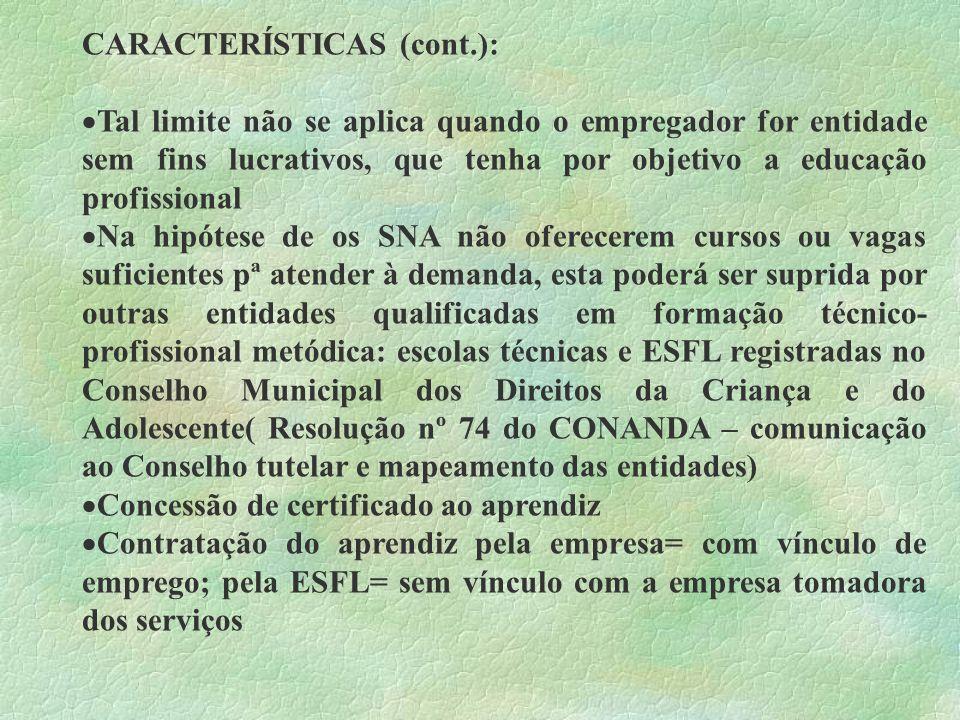 CARACTERÍSTICAS (cont.): Tal limite não se aplica quando o empregador for entidade sem fins lucrativos, que tenha por objetivo a educação profissional