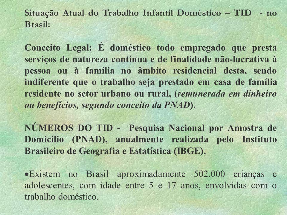 Situação Atual do Trabalho Infantil Doméstico – TID - no Brasil: Conceito Legal: É doméstico todo empregado que presta serviços de natureza contínua e