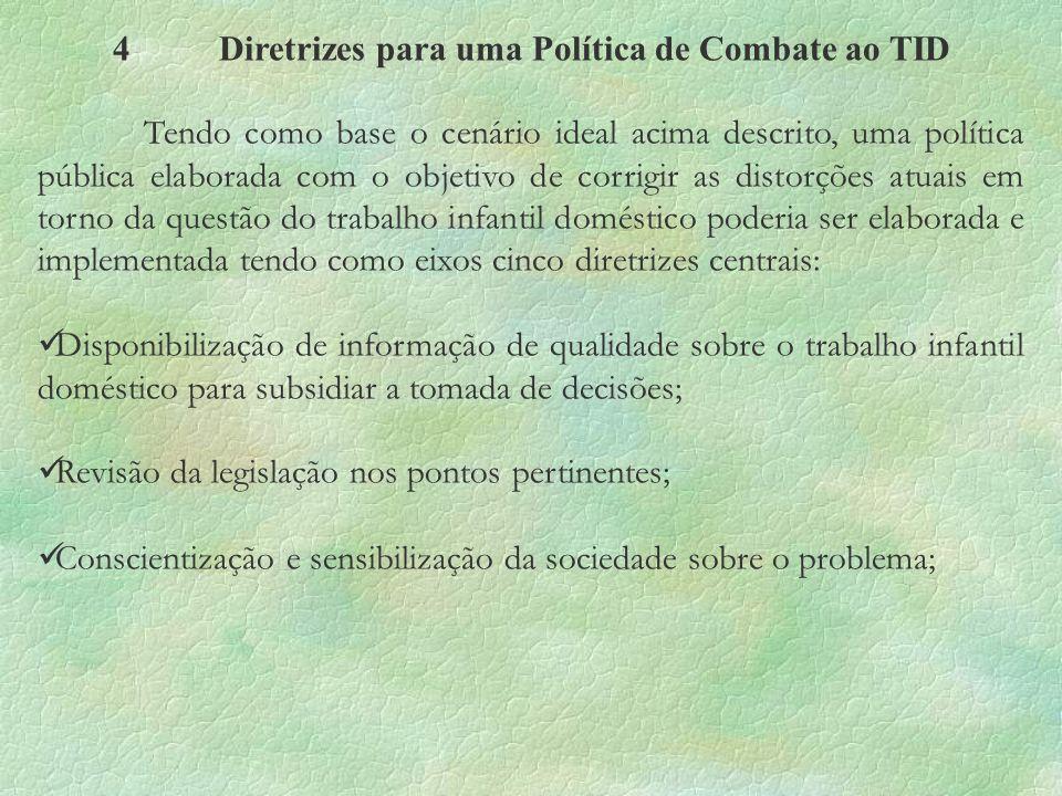 4Diretrizes para uma Política de Combate ao TID Tendo como base o cenário ideal acima descrito, uma política pública elaborada com o objetivo de corri