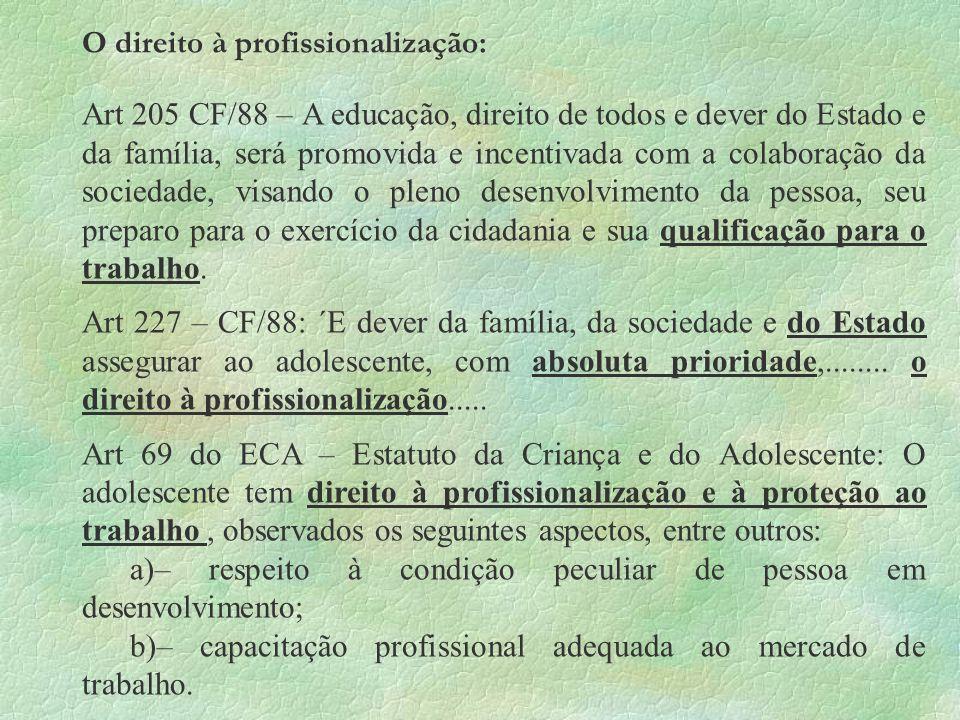 O direito à profissionalização: Art 205 CF/88 – A educação, direito de todos e dever do Estado e da família, será promovida e incentivada com a colabo