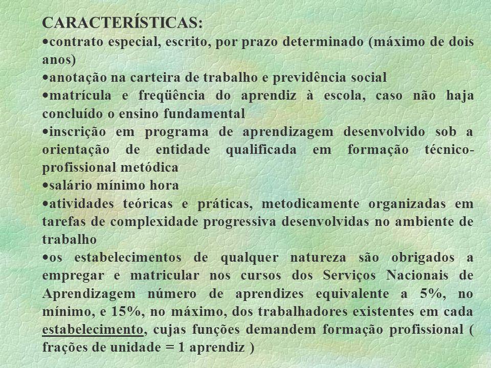 CARACTERÍSTICAS: contrato especial, escrito, por prazo determinado (máximo de dois anos) anotação na carteira de trabalho e previdência social matrícu