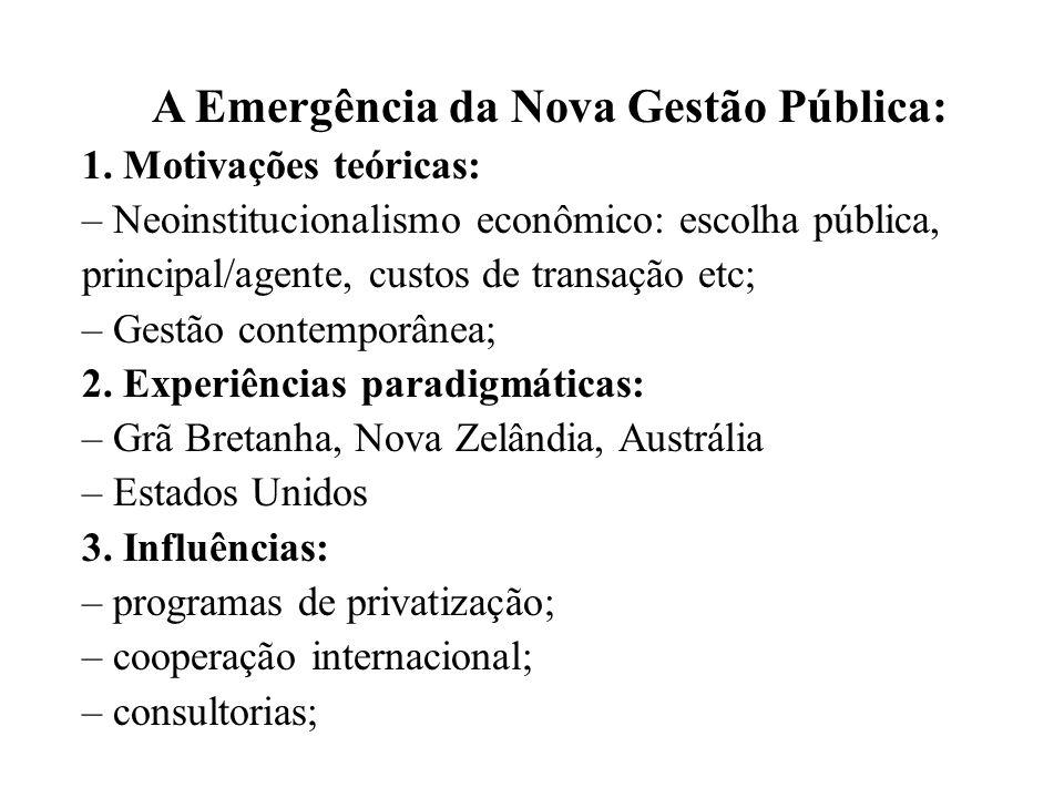 A Emergência da Nova Gestão Pública: 1. Motivações teóricas: – Neoinstitucionalismo econômico: escolha pública, principal/agente, custos de transação
