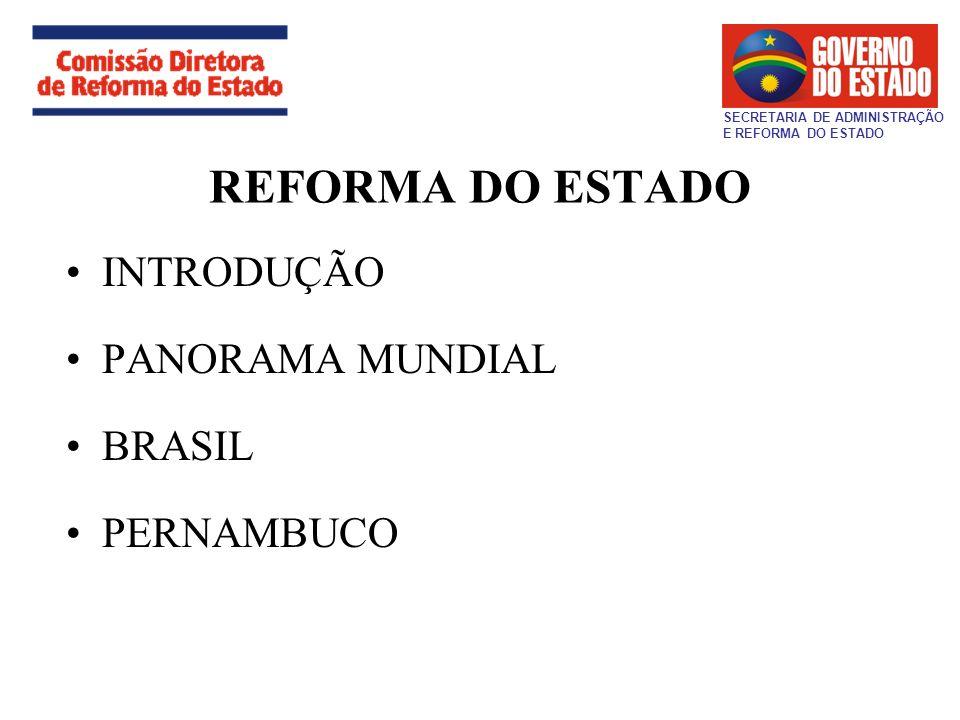 REFORMA DO ESTADO INTRODUÇÃO PANORAMA MUNDIAL BRASIL PERNAMBUCO SECRETARIA DE ADMINISTRAÇÃO E REFORMA DO ESTADO