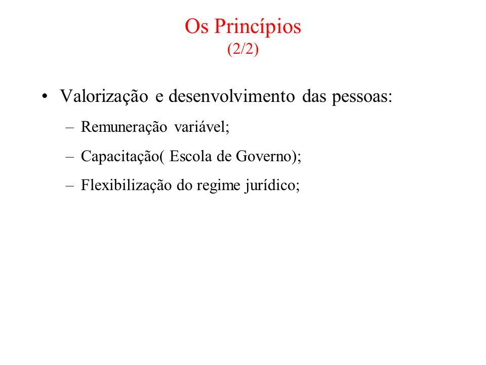 Os Princípios (2/2) Valorização e desenvolvimento das pessoas: –Remuneração variável; –Capacitação( Escola de Governo); –Flexibilização do regime jurí