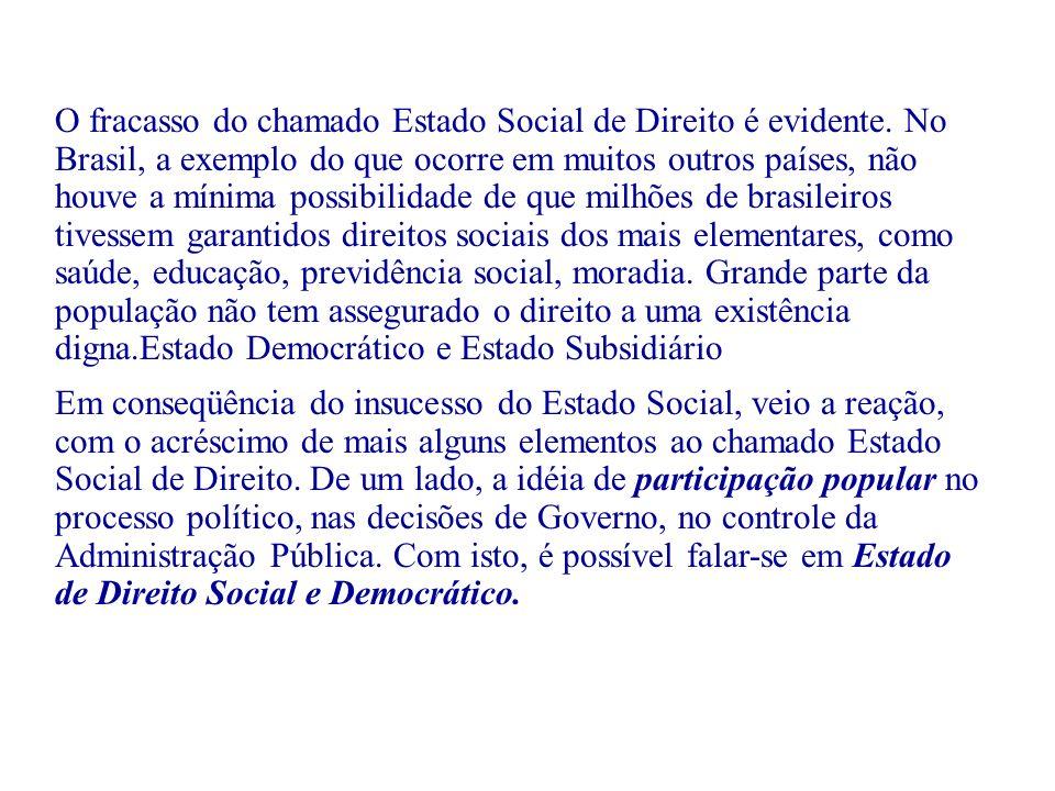 O fracasso do chamado Estado Social de Direito é evidente. No Brasil, a exemplo do que ocorre em muitos outros países, não houve a mínima possibilidad