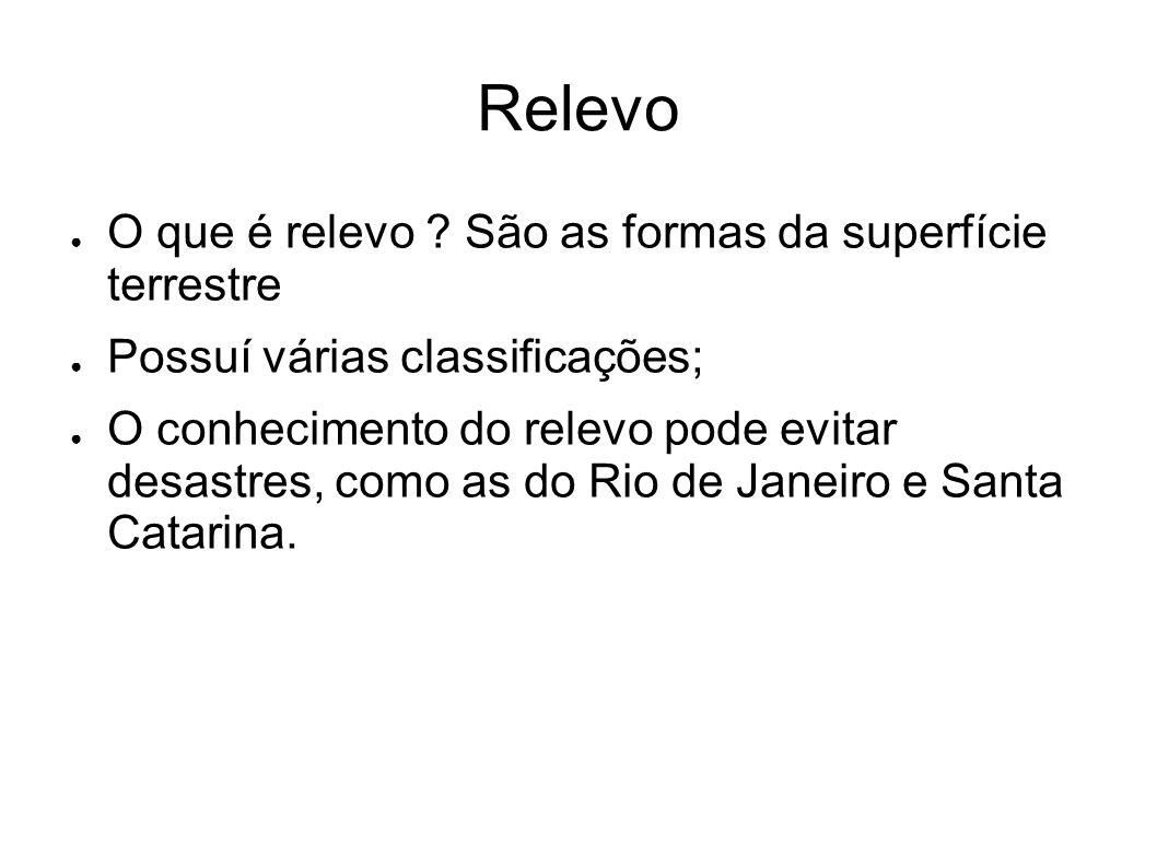 RELEVO BRASILEIRO Aroldo de Azevedo - esta classificação data de 1940, sendo a mais tradicional.