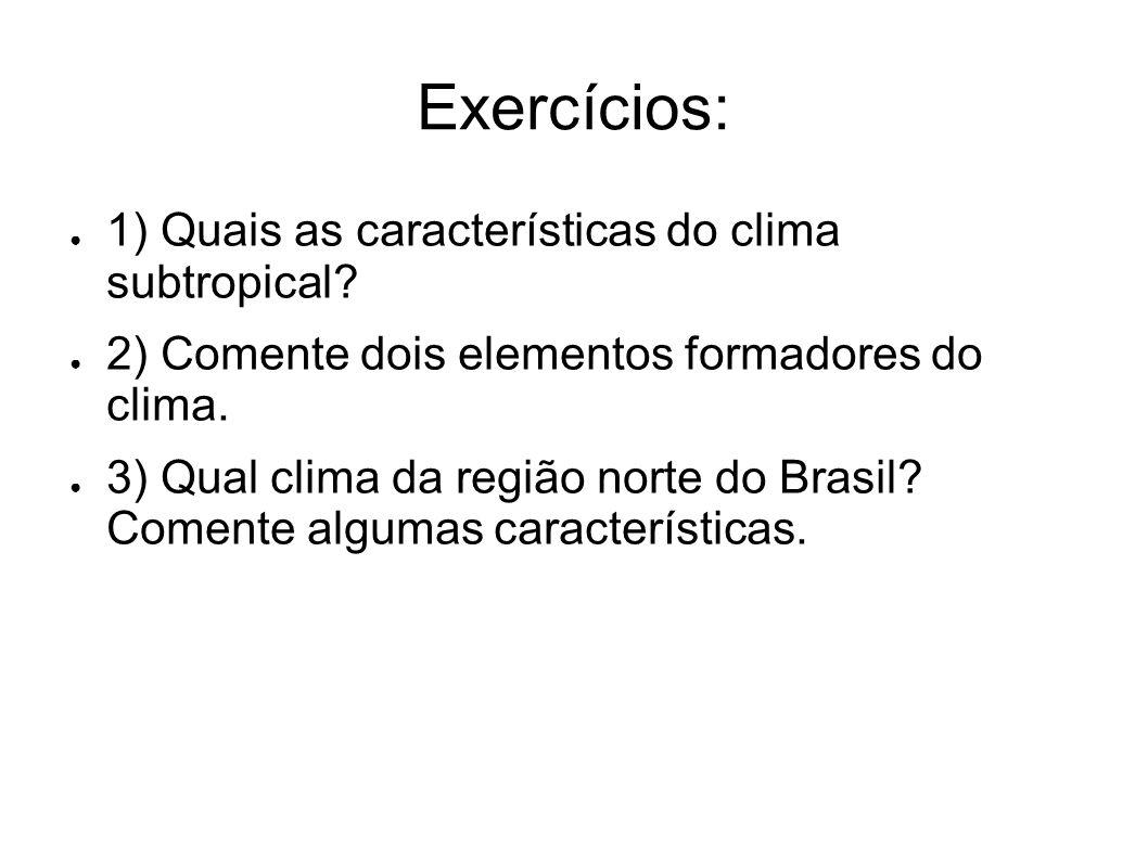 Exercícios: 1) Quais as características do clima subtropical? 2) Comente dois elementos formadores do clima. 3) Qual clima da região norte do Brasil?
