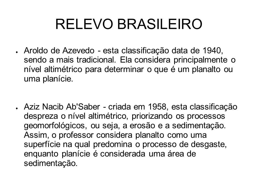 RELEVO BRASILEIRO Aroldo de Azevedo - esta classificação data de 1940, sendo a mais tradicional. Ela considera principalmente o nível altimétrico para