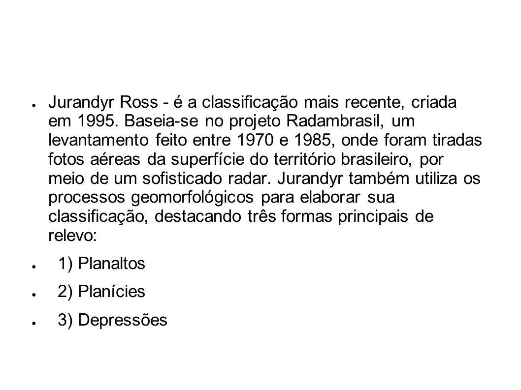 Jurandyr Ross - é a classificação mais recente, criada em 1995. Baseia-se no projeto Radambrasil, um levantamento feito entre 1970 e 1985, onde foram