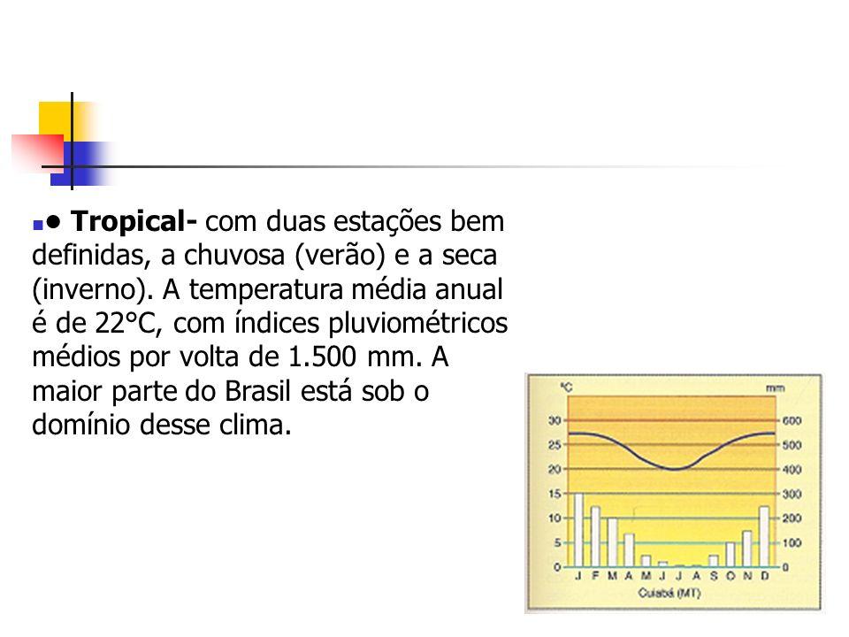 Tropical- com duas estações bem definidas, a chuvosa (verão) e a seca (inverno). A temperatura média anual é de 22°C, com índices pluviométricos médio