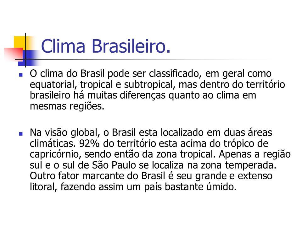 Clima Brasileiro. O clima do Brasil pode ser classificado, em geral como equatorial, tropical e subtropical, mas dentro do território brasileiro há mu