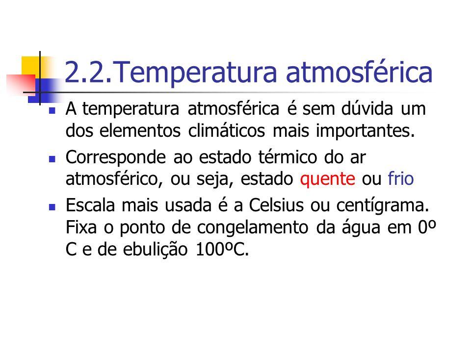2.2.Temperatura atmosférica A temperatura atmosférica é sem dúvida um dos elementos climáticos mais importantes. Corresponde ao estado térmico do ar a