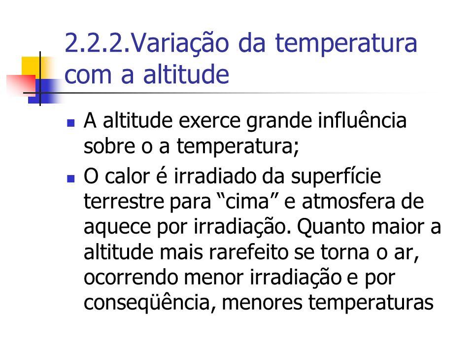 2.2.2.Variação da temperatura com a altitude A altitude exerce grande influência sobre o a temperatura; O calor é irradiado da superfície terrestre pa