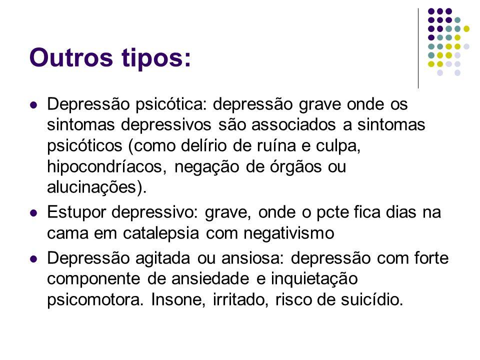 Outros tipos: Depressão psicótica: depressão grave onde os sintomas depressivos são associados a sintomas psicóticos (como delírio de ruína e culpa, h