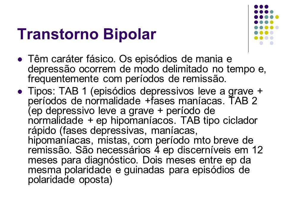 Transtorno Bipolar Têm caráter fásico. Os episódios de mania e depressão ocorrem de modo delimitado no tempo e, frequentemente com períodos de remissã