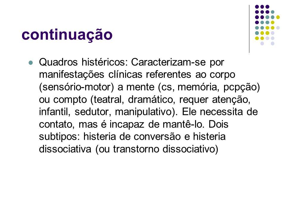 continuação Quadros histéricos: Caracterizam-se por manifestações clínicas referentes ao corpo (sensório-motor) a mente (cs, memória, pcpção) ou compt