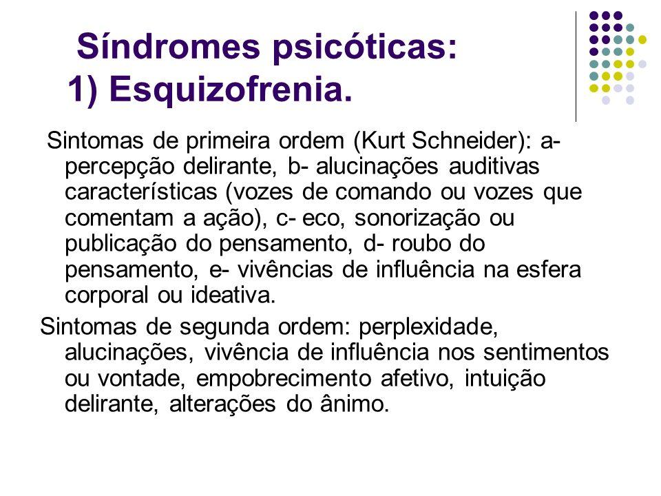 Síndromes psicóticas: 1) Esquizofrenia. Sintomas de primeira ordem (Kurt Schneider): a- percepção delirante, b- alucinações auditivas características