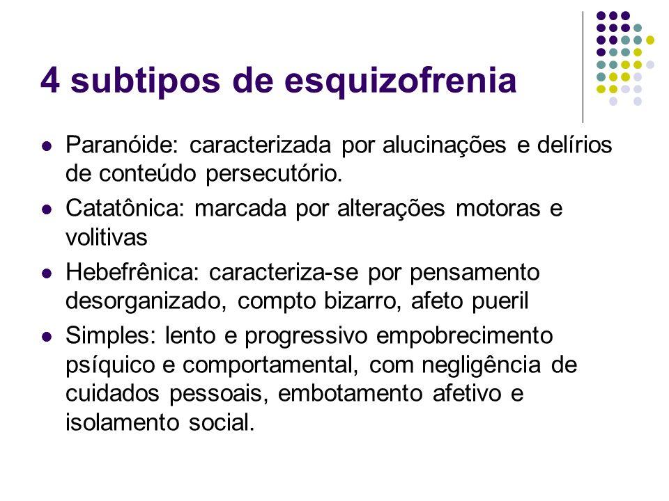 4 subtipos de esquizofrenia Paranóide: caracterizada por alucinações e delírios de conteúdo persecutório. Catatônica: marcada por alterações motoras e