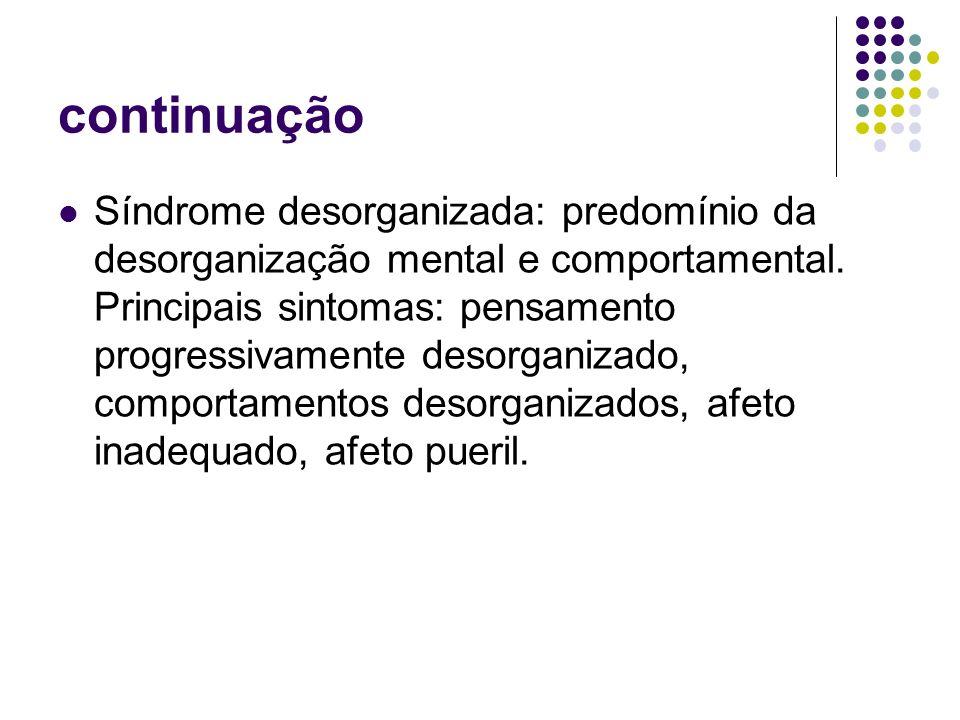 continuação Síndrome desorganizada: predomínio da desorganização mental e comportamental. Principais sintomas: pensamento progressivamente desorganiza