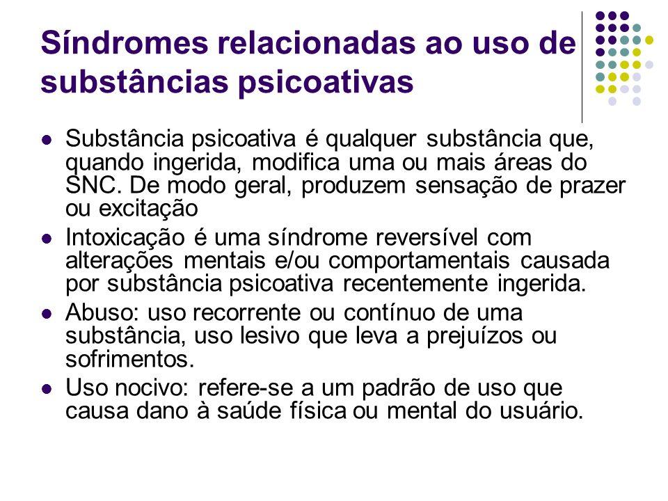 Síndromes relacionadas ao uso de substâncias psicoativas Substância psicoativa é qualquer substância que, quando ingerida, modifica uma ou mais áreas
