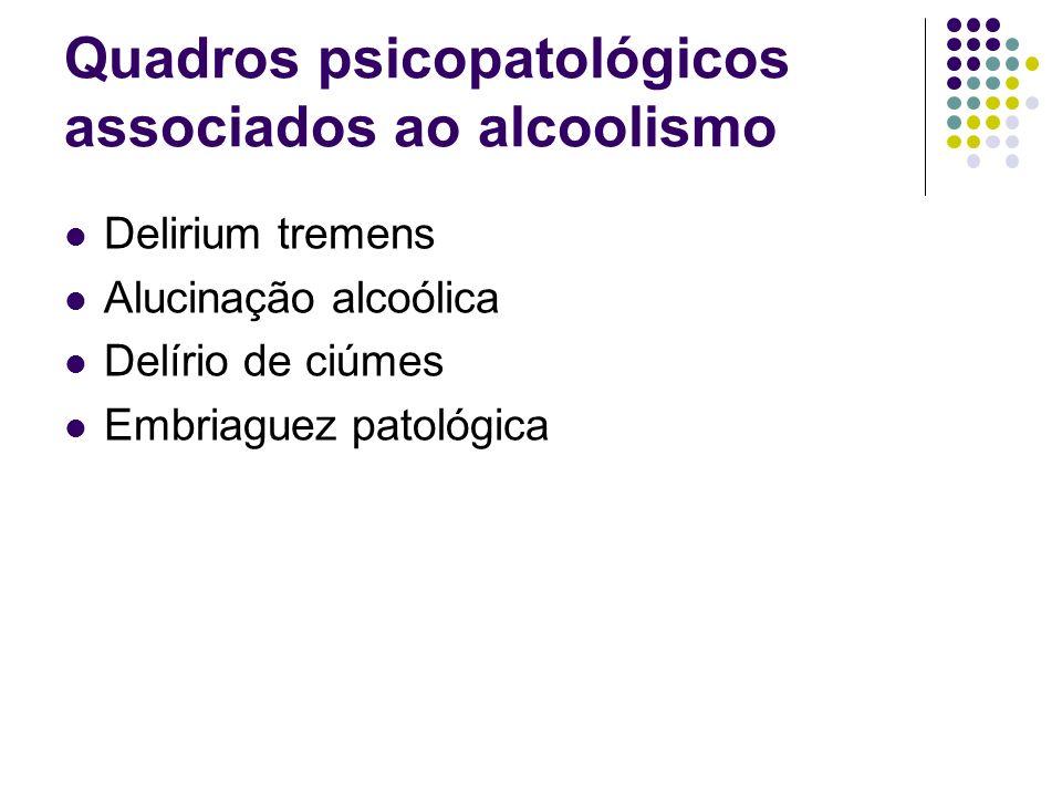 Quadros psicopatológicos associados ao alcoolismo Delirium tremens Alucinação alcoólica Delírio de ciúmes Embriaguez patológica