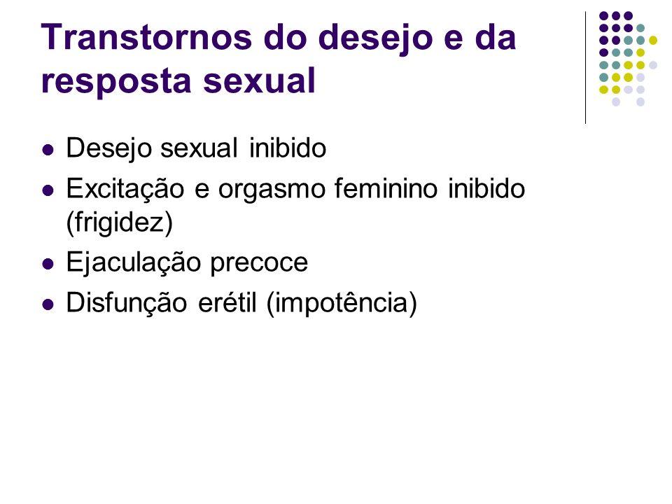 Transtornos do desejo e da resposta sexual Desejo sexual inibido Excitação e orgasmo feminino inibido (frigidez) Ejaculação precoce Disfunção erétil (