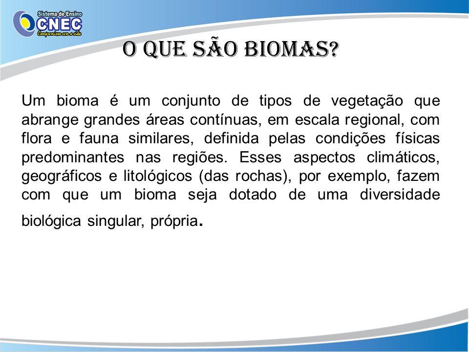 O que são biomas? Um bioma é um conjunto de tipos de vegetação que abrange grandes áreas contínuas, em escala regional, com flora e fauna similares, d