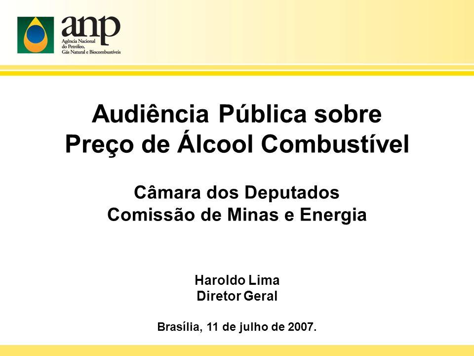 Audiência Pública sobre Preço de Álcool Combustível Câmara dos Deputados Comissão de Minas e Energia Haroldo Lima Diretor Geral Brasília, 11 de julho