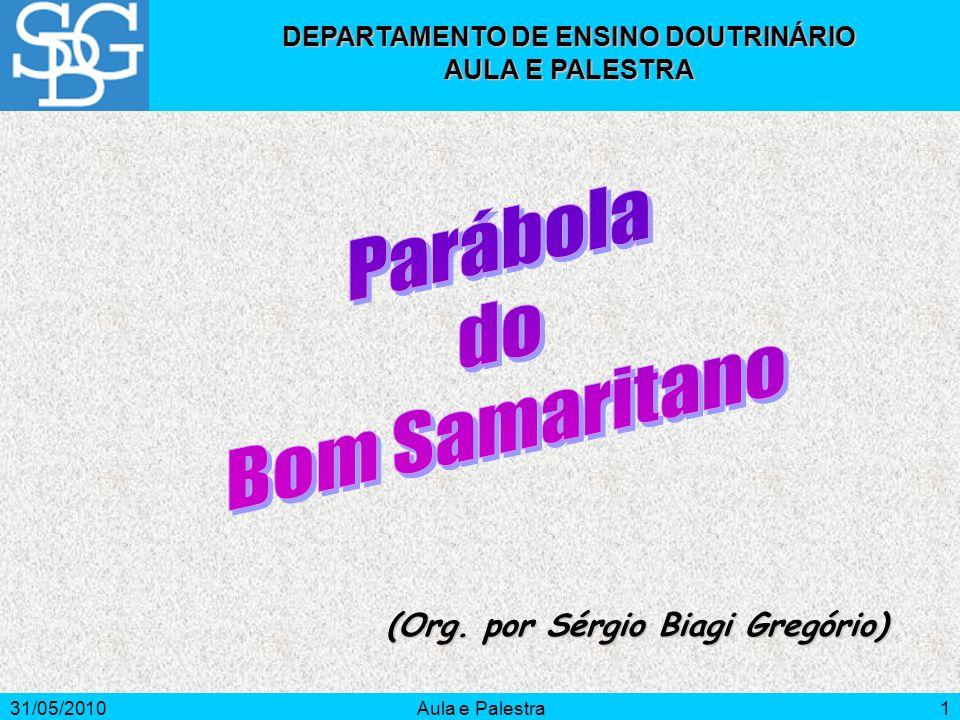 31/05/2010Aula e Palestra2 PARÁBOLA DO BOM SAMARITANO Introdução O objetivo deste estudo é refletir sobre as dificuldades que as convenções sociais impõem à prática da caridade.