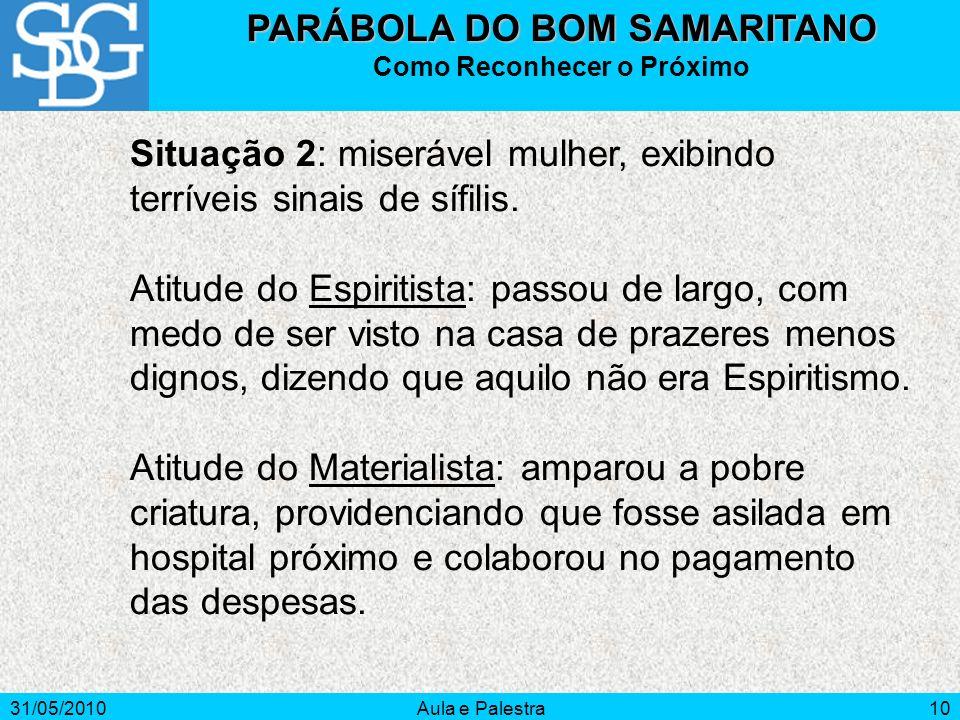 31/05/2010Aula e Palestra10 Situação 2: miserável mulher, exibindo terríveis sinais de sífilis. Atitude do Espiritista: passou de largo, com medo de s