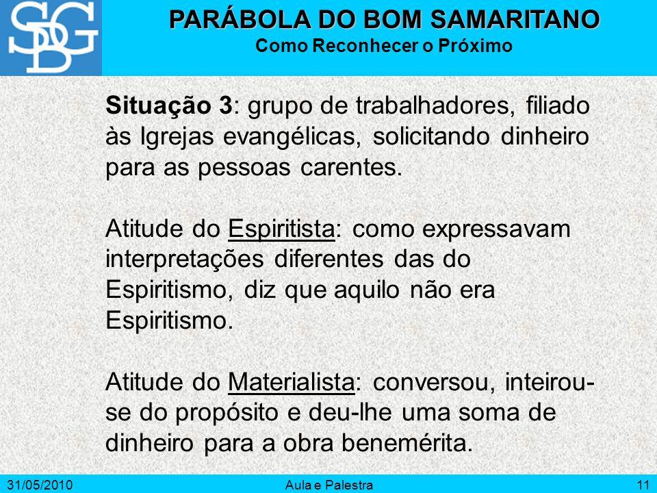 31/05/2010Aula e Palestra11 Situação 3: grupo de trabalhadores, filiado às Igrejas evangélicas, solicitando dinheiro para as pessoas carentes. Atitude