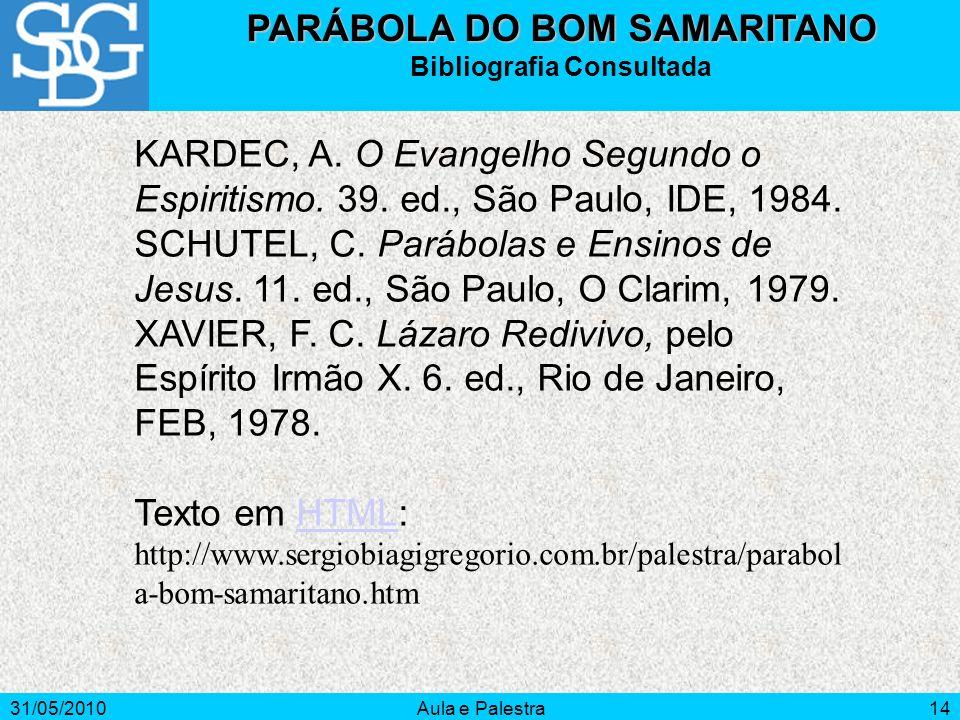 31/05/2010Aula e Palestra14 KARDEC, A. O Evangelho Segundo o Espiritismo. 39. ed., São Paulo, IDE, 1984. SCHUTEL, C. Parábolas e Ensinos de Jesus. 11.