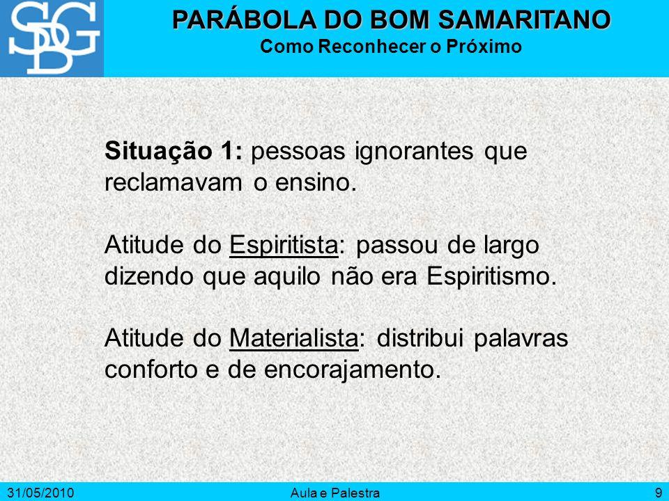 31/05/2010Aula e Palestra9 PARÁBOLA DO BOM SAMARITANO Como Reconhecer o Próximo Situação 1: pessoas ignorantes que reclamavam o ensino. Atitude do Esp