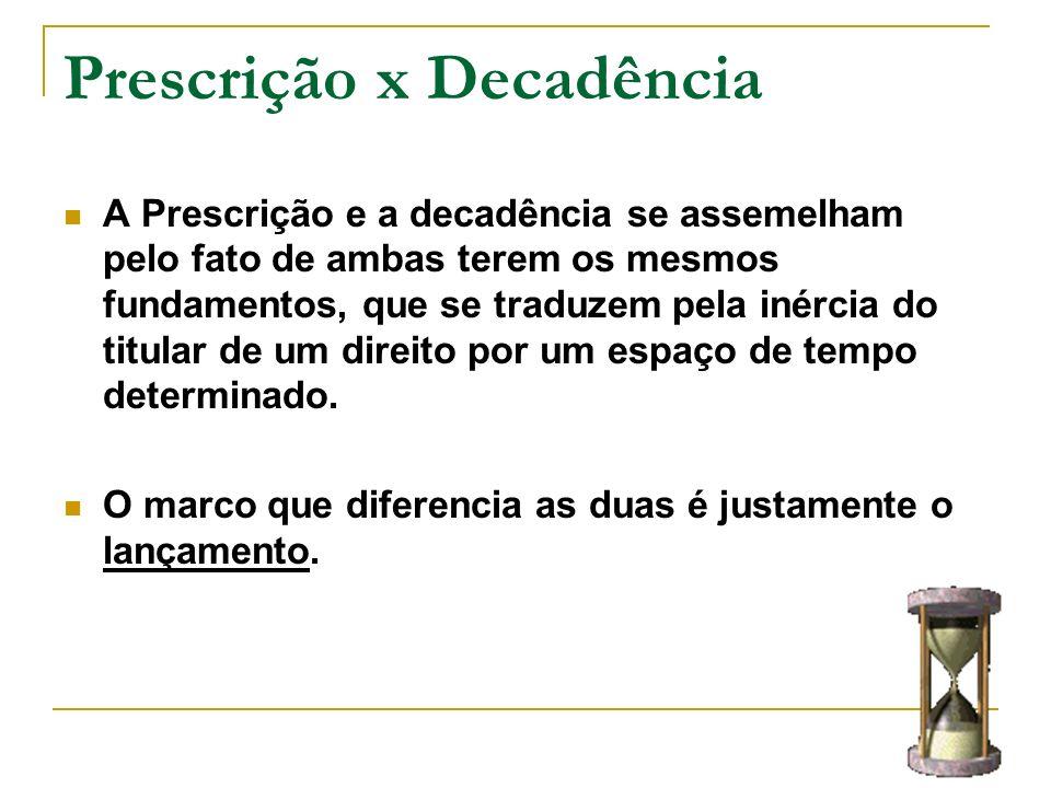 Prescrição x Decadência A Prescrição e a decadência se assemelham pelo fato de ambas terem os mesmos fundamentos, que se traduzem pela inércia do titu
