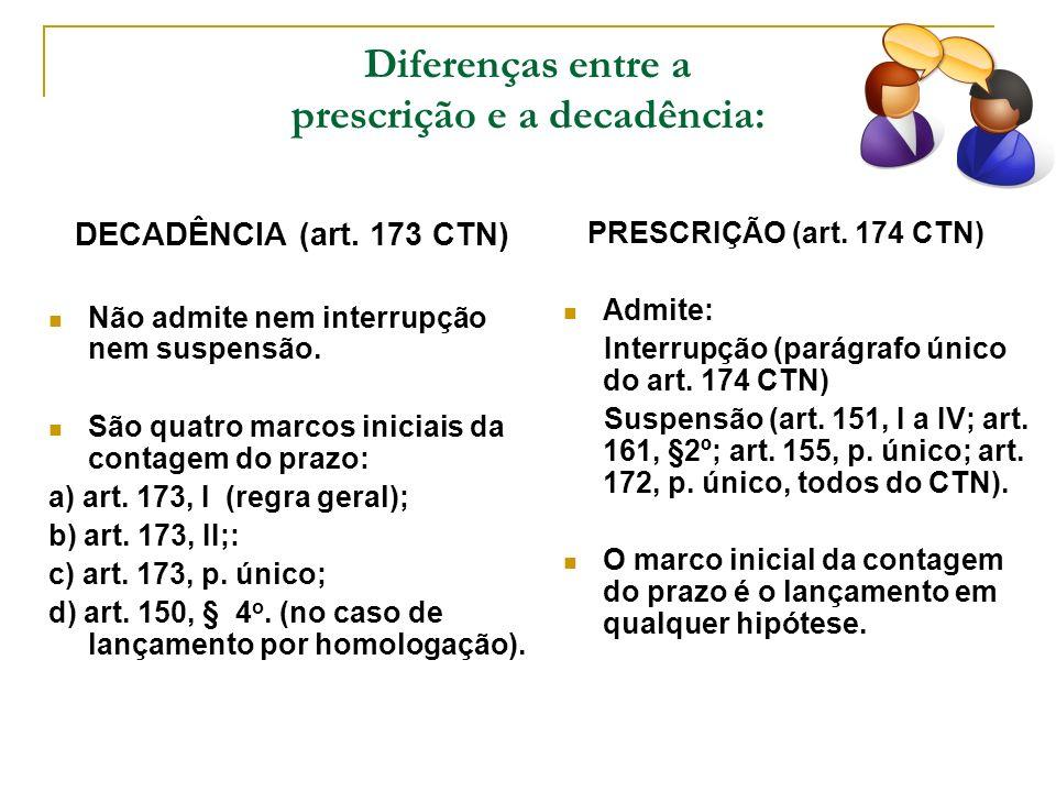 Diferenças entre a prescrição e a decadência: DECADÊNCIA (art. 173 CTN) Não admite nem interrupção nem suspensão. São quatro marcos iniciais da contag