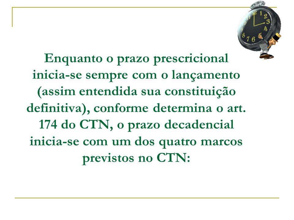 Enquanto o prazo prescricional inicia-se sempre com o lançamento (assim entendida sua constituição definitiva), conforme determina o art. 174 do CTN,