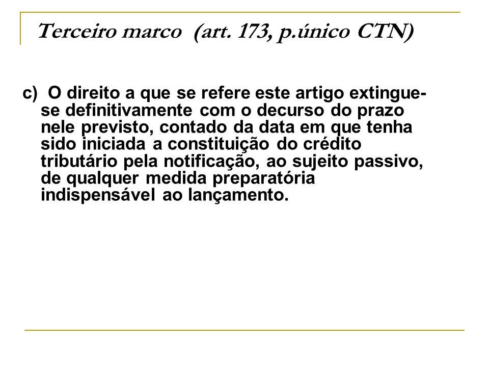 Terceiro marco (art. 173, p.único CTN) c) O direito a que se refere este artigo extingue- se definitivamente com o decurso do prazo nele previsto, con