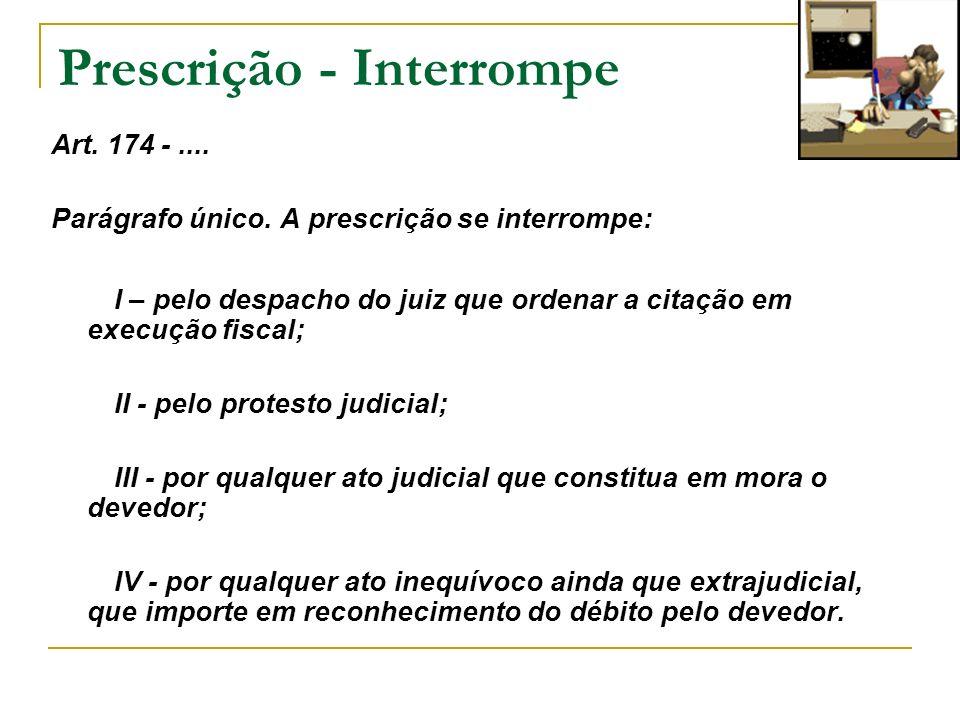 Prescrição - Interrompe Art. 174 -.... Parágrafo único. A prescrição se interrompe: I – pelo despacho do juiz que ordenar a citação em execução fiscal