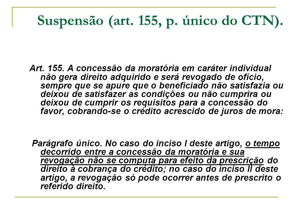 Suspensão (art. 155, p. único do CTN). Art. 155. A concessão da moratória em caráter individual não gera direito adquirido e será revogado de ofício,