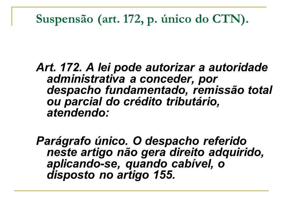 Suspensão (art. 172, p. único do CTN). Art. 172. A lei pode autorizar a autoridade administrativa a conceder, por despacho fundamentado, remissão tota
