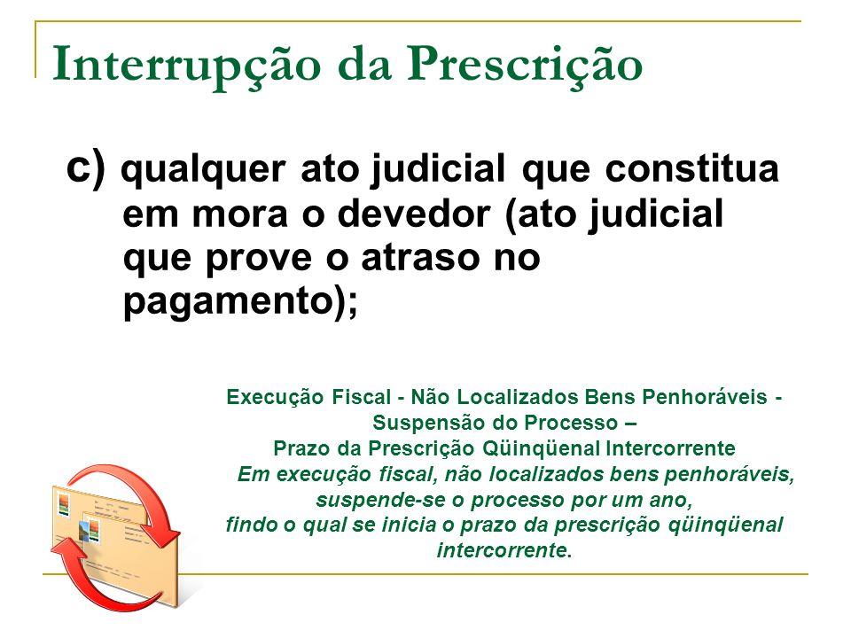 Interrupção da Prescrição c) qualquer ato judicial que constitua em mora o devedor (ato judicial que prove o atraso no pagamento); Execução Fiscal - N
