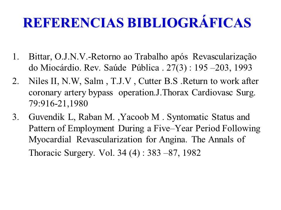 REFERENCIAS BIBLIOGRÁFICAS 1.Bittar, O.J.N.V.-Retorno ao Trabalho após Revascularização do Miocárdio. Rev. Saúde Pública. 27(3) : 195 –203, 1993 2.Nil