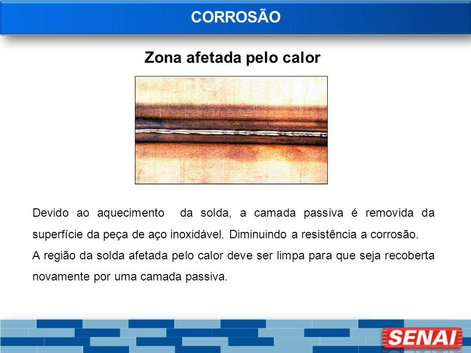 CORROSÃO Zona afetada pelo calor Devido ao aquecimento da solda, a camada passiva é removida da superfície da peça de aço inoxidável. Diminuindo a res