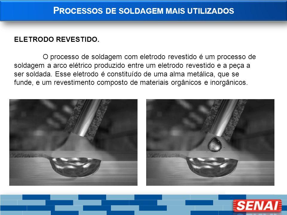 P ROCESSOS DE SOLDAGEM MAIS UTILIZADOS ELETRODO REVESTIDO. O processo de soldagem com eletrodo revestido é um processo de soldagem a arco elétrico pro