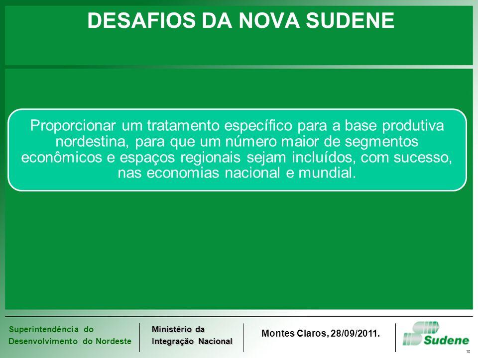 Superintendência do Desenvolvimento do Nordeste Ministério da Integração Nacional Montes Claros, 28/09/2011. 10 DESAFIOS DA NOVA SUDENE Proporcionar u