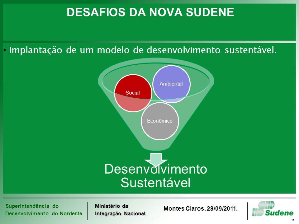 Superintendência do Desenvolvimento do Nordeste Ministério da Integração Nacional Montes Claros, 28/09/2011. 11 DESAFIOS DA NOVA SUDENE Implantação de