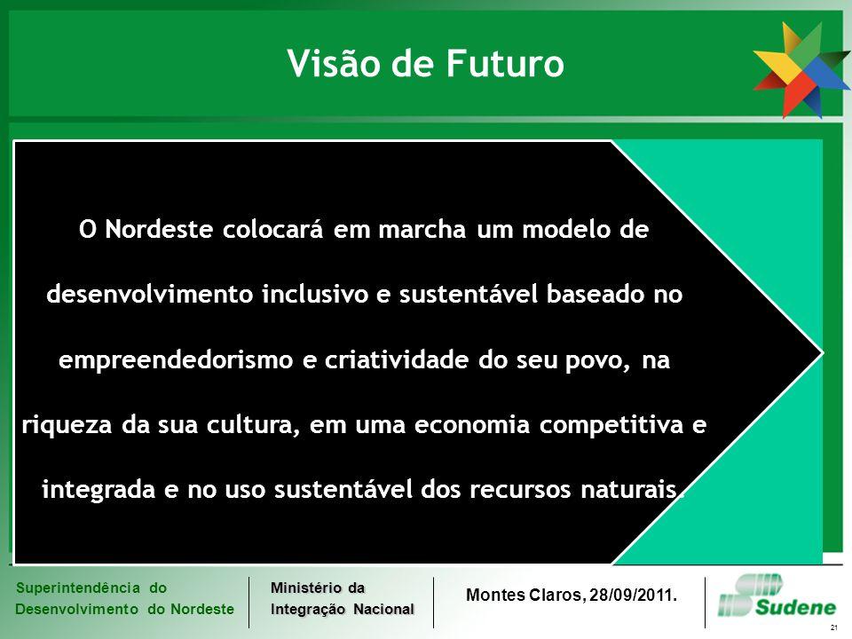 Superintendência do Desenvolvimento do Nordeste Ministério da Integração Nacional Montes Claros, 28/09/2011. 21 Visão de Futuro O Nordeste colocará em