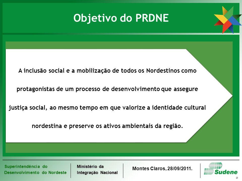 Superintendência do Desenvolvimento do Nordeste Ministério da Integração Nacional Montes Claros, 28/09/2011. 23 Objetivo do PRDNE A inclusão social e