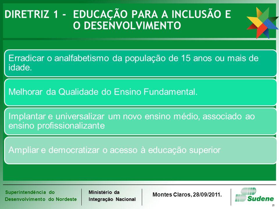 Superintendência do Desenvolvimento do Nordeste Ministério da Integração Nacional Montes Claros, 28/09/2011. 25 DIRETRIZ 1 - EDUCAÇÃO PARA A INCLUSÃO